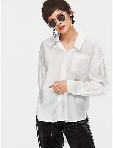 povoljno Majica-Majica Žene - Osnovni Dnevno Pamuk Jednobojni Kragna košulje Obala / Ljeto