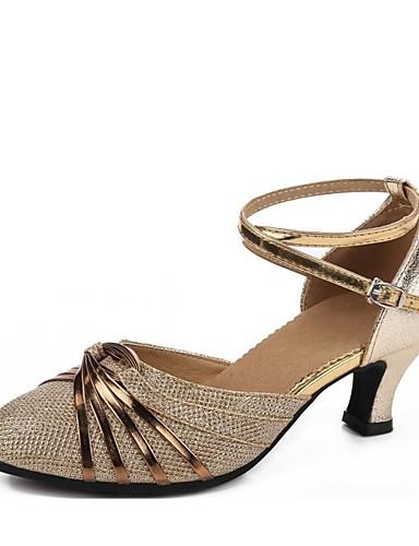1542b735fc035 للمرأة أحذية عصرية المواد التركيبية صندل ترتر كعب كوبي مخصص أحذية الرقص  ذهبي   أسود   فضي