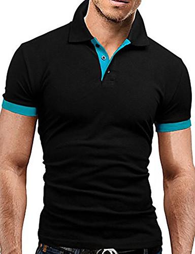 f0712166d2b64 Men s Business   Basic Plus Size Cotton Slim Polo - Color Block Black    Gray Shirt Collar   Short Sleeve   Summer