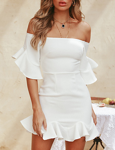 Lovely Womens Short Sleeve Holiday Solid Dress High Quality Ladies Summer Beach Ruffle Mini Sexy Party Dress Women's Clothing