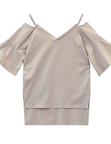 Bluza Žene - Vintage Dnevno Pamuk Jednobojni Puff rukav  Rese Crno-crvena