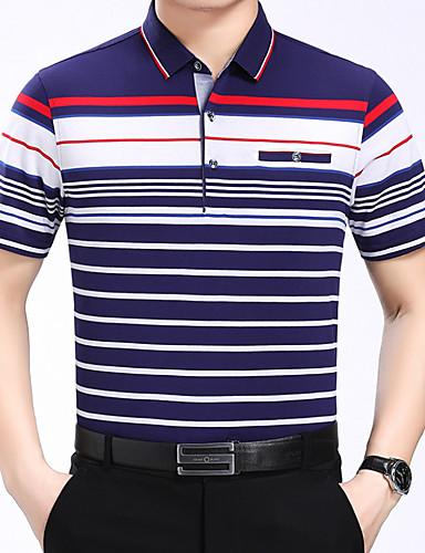 Majica s rukavima Muškarci Dnevno Pamuk Jednobojni / Prugasti uzorak / Color block Kragna košulje Kolaž / Kratkih rukava