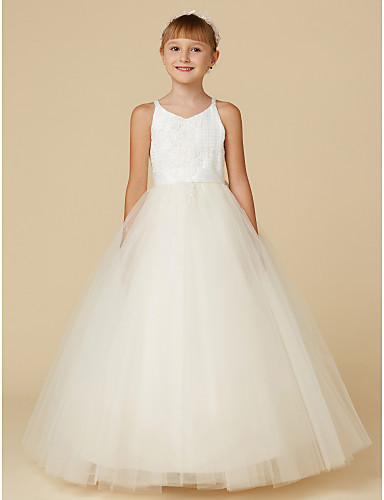 fe8fcebf4 Princess Floor Length Flower Girl Dress - Lace / Tulle Sleeveless Spaghetti  Strap with Appliques / Bow(s) by LAN TING BRIDE®