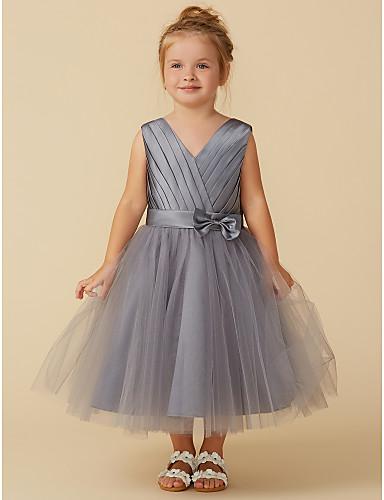 3e53422623 Princess Tea Length Flower Girl Dress - Satin   Tulle Sleeveless V ...