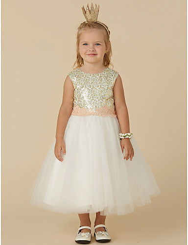 cfada3b852c7 Princess Knee Length Flower Girl Dress - Tulle   Sequined Sleeveless Jewel  Neck with Sequin   Bow(s) by LAN TING BRIDE®