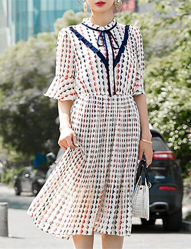 Žene Šifon Haljina Color block Midi