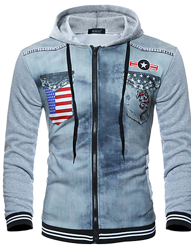 8c24ed8e25a Men s Plus Size Street chic   Punk   Gothic Long Sleeve Slim Hoodie - Color  Block   3D Tiger