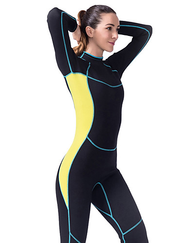 LIFURIOUS Women's Full Wetsuit 3mm CR Neoprene Diving Suit High Elasticity Long Sleeve Back Zip Solid Colored