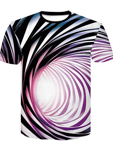 cheap Men's Tees & Tank Tops-Men's Daily Club Basic / Street chic T-shirt - Solid Colored Black & White, Print Round Neck Fuchsia XXL / Short Sleeve / Summer