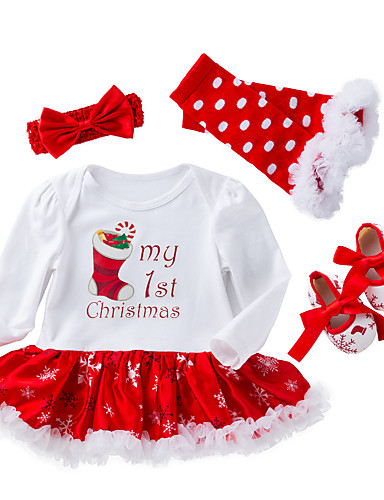 Baby Girls' Active / Street chic Christmas / Holiday / Going out Print Mesh Long Sleeve Regular Regular Cotton Clothing Set White