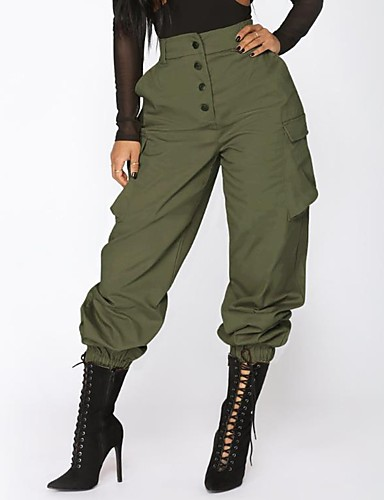 Womens Military Sports Weekend Loose Chinos Sweatpants Pants