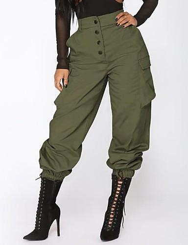 Mujer Militar Corte Ancho Chinos   Pantalones de Deporte Pantalones - Un  Color   Bloques Alta cintura Negro   Sexy 6787329 2019 –  22.04 3e1764331921
