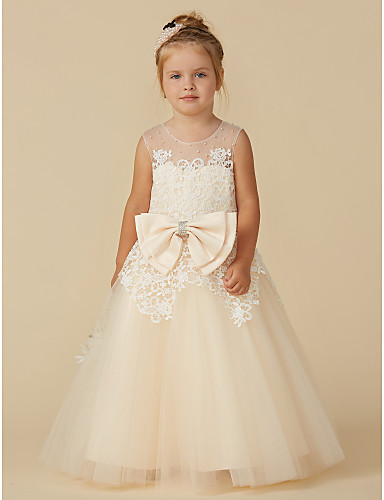 db636b1995 A-Line Floor Length Flower Girl Dress - Lace   Tulle Sleeveless Jewel Neck  with Beading   Bow(s) by LAN TING BRIDE®