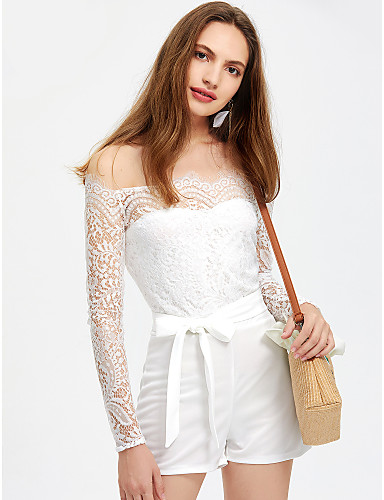 d69cab65dfb9 Women s Off Shoulder Lace Party Off Shoulder White Slim Romper