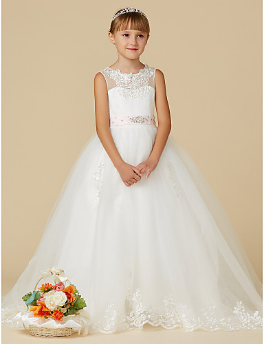 4b0eba432499 Princess Sweep / Brush Train Flower Girl Dress - Lace / Tulle Sleeveless  Jewel Neck with Beading / Appliques / Belt by LAN TING BRIDE®