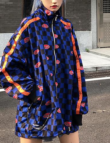 billige Ytterklær til damer-Dame Daglig Gatemote Normal Jakke, Moderne Med hette Langermet Polyester Blå / Svart