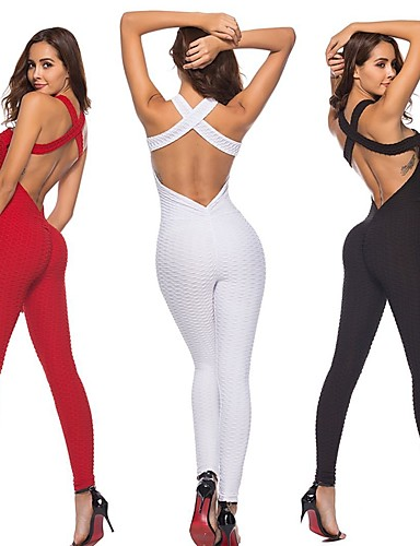 625ce24ce78 Women s Open Back Romper Workout Jumpsuit Black Red Pink Sports Solid Color  Spandex High Rise Bodysuit Zumba Yoga Running Sleeveless Activewear ...