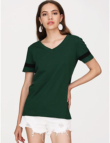 T-shirt Damskie Bawełna W serek Luźna - Solidne kolory