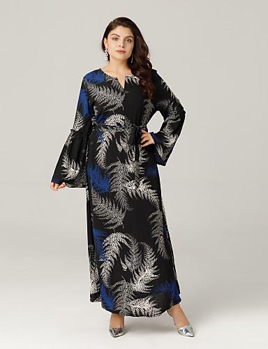 Mulheres Tamanhos Grandes Boho balanço Vestido - Pregueado / Estampado Longo