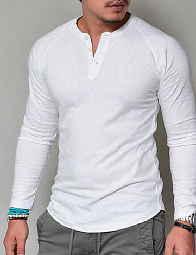 cheap Men's Tees & Tank Tops-Men's Basic T-shirt - Solid Colored V Neck / Long Sleeve