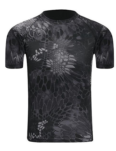 cheap Outdoor Clothing-Men's Camo Hiking Tee shirt Short Sleeve Outdoor UV Resistant Breathable Fast Dry Stretchy Tee / T-shirt Top Summer Cotton Lycra Crew Neck Green / Yellow Grey Camouflage Camping / Hiking Hunting