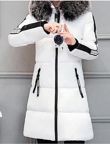voordelige Dames donsjassen & parka's-Dames Effen Lang Gewatteerd, Polyester Zwart / Wit / Blozend Roze M / L / XL
