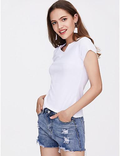 abordables Hauts pour Femmes-Tee-shirt Femme, Couleur Pleine Marron clair / Eté