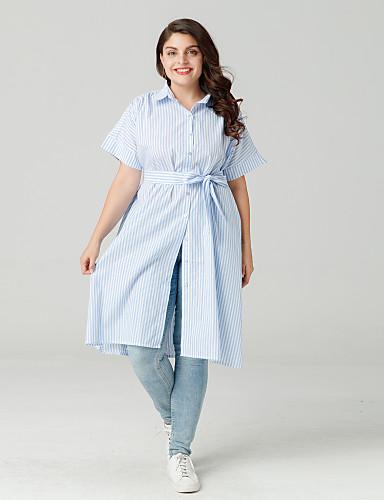 billige Topper til damer-Skjortekrage Store størrelser Skjorte Dame - Stripet Ut på byen