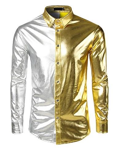 abordables Camisas de Hombre-Hombre Lujo / Chic de Calle / Punk & Gótico Fiesta / Trabajo / Discoteca Retazos - Algodón Camisa Bloques Dorado L / Manga Larga / Otoño
