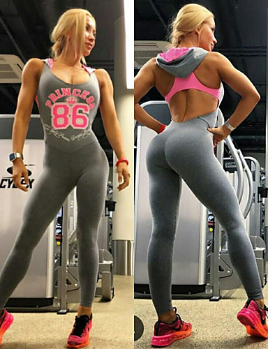 1228d8f0cfa Women s Scoop Neck Cut Out Tracksuit Workout Jumpsuit Gray Sports Letter    Number High Rise Clothing Suit Zumba Yoga Running Sleeveless Activewear ...
