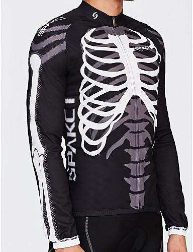 SPAKCT Erkek Uzun Kollu Bisiklet Forması - Siyah / Beyaz İskelet Bisiklet Forma Üstler, Nefes Alabilir Sıcak Tutma Hızlı Kuruma %100 Polyester / Ultravioleye Karşı Dayanıklı / Gelişmiş / Eksper