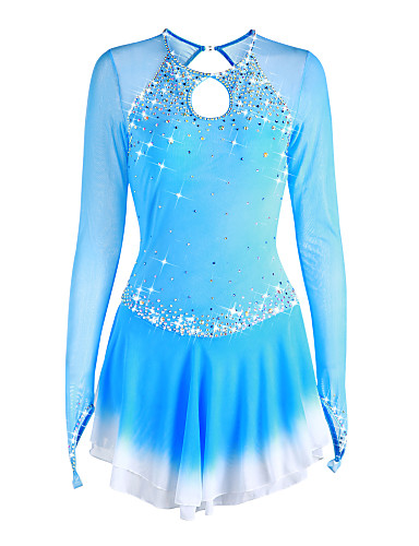 20dff275b45b Figure Skating Dress Women's Girls' Ice Skating Dress Pale Blue Halo Dyeing  Spandex High Elasticity Competition Skating Wear Handmade Solid Colored  Long ...