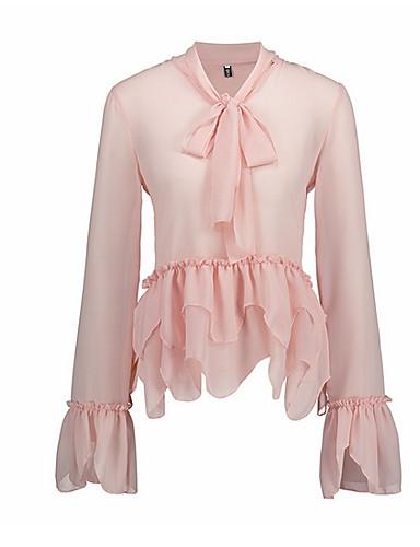 abordables Hauts pour Femme-Tee-shirt Femme, Couleur Pleine Maille / Garniture en dentelle Basique Rose Poudré Rose Claire