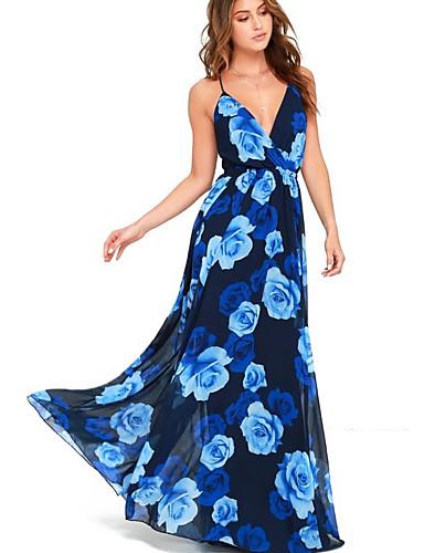 voordelige Maxi-jurken-Dames Feestdagen Strand Wijd uitlopend Jurk - Bloemen, Blote rug Diepe V-hals Maxi