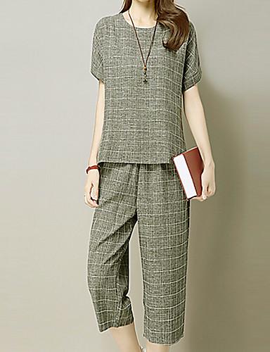 abordables Hauts pour Femmes-Femme Sortie / Travail Ample Tee-shirt - Géométrique Pantalon / Eté