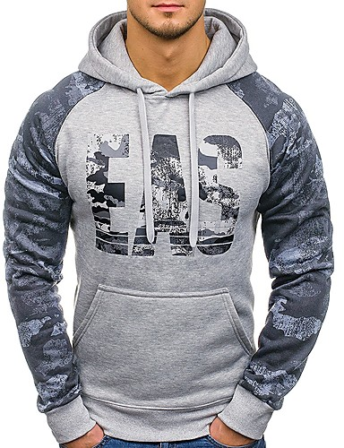 231e1b1969 Men s Basic Long Sleeve Slim   Loose Hoodie - Color Block   Camouflage    Letter Lace