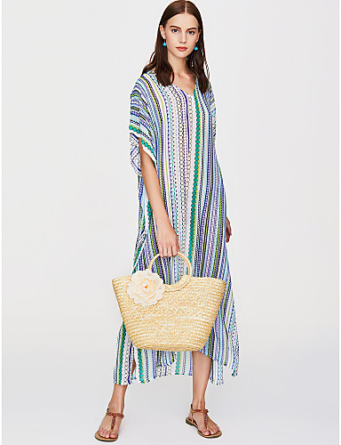 211444945aa Women s Striped Holiday   Beach Boho Maxi Loose Tunic Dress - Striped    Geometric Deep V Summer White One-Size  06636192