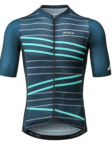 cheap Cycling Clothing-Mysenlan Men's Short Sleeve Cycling Jersey - Dark Green Bike Jersey Sports Polyester Mountain Bike MTB Road Bike Cycling Clothing Apparel / YKK Zipper