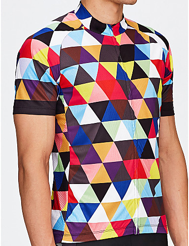 e2759f201 21Grams Men s Short Sleeve Cycling Jersey - Rainbow Plaid   Checkered Bike  Jersey Top Breathable Quick