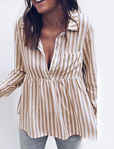 billige Dametopper-Skjortekrage Skjorte Dame - Stripet Svart M / Sommer