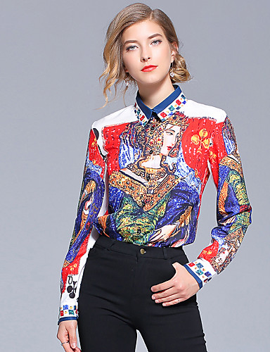 d1cccfbe0f9d59 Women's Work Active / Street chic Shirt - Portrait Print Shirt Collar