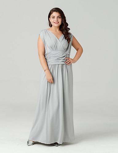 voordelige Grote maten jurken-Dames Grote maten Verfijnd Katoen Schede Jurk - Effen V-hals Maxi
