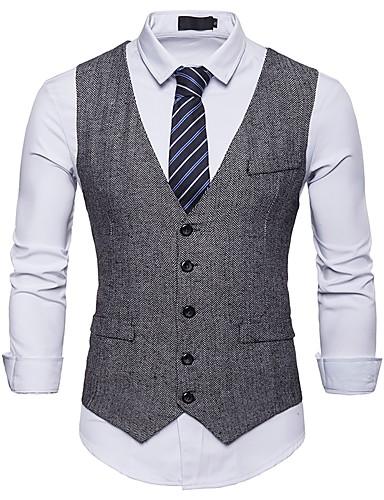 40ccbef17 رجالي أسود رمادي كاكي L XL XXL Vest أساسي الوحوش المذهلة فانتاستيك بيستس  منقط V رقبة نحيل مناسب للحفلات / كم قصير / عمل / نصف رسمي