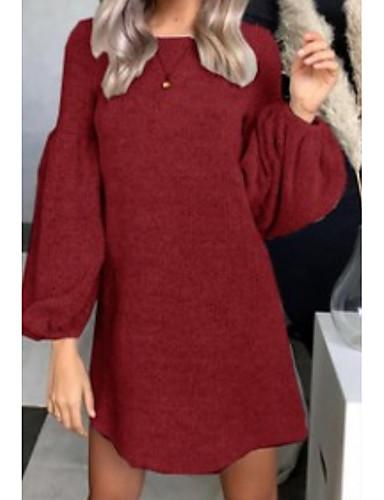 cd862049fa Women s Daily Basic A Line Dress Black Wine Light gray M L XL