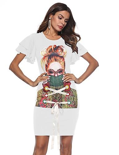 7e818e05626 Mujer Playa Vintage Manga de la llamarada Delgado Vaina Vestido - Volante,  Geométrico Sobre la rodilla
