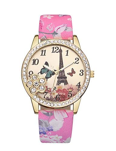 b30bdcff68c Mulheres Relógio de Pulso Quartzo Couro Preta   Azul   Vermelho Torre  Eiffel Relógio Casual Analógico