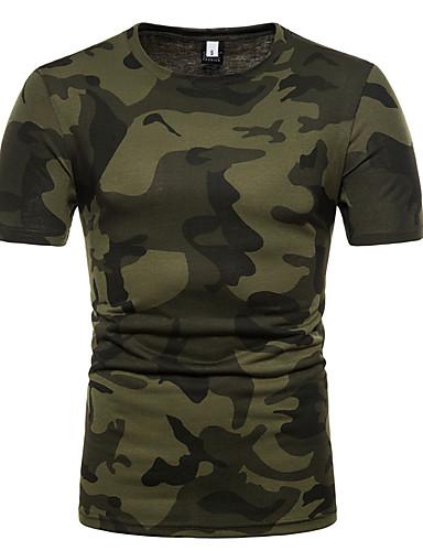 お買い得  軍隊-男性用 Tシャツ ベーシック ラウンドネック スリム カラーブロック / カモフラージュ コットン / 半袖