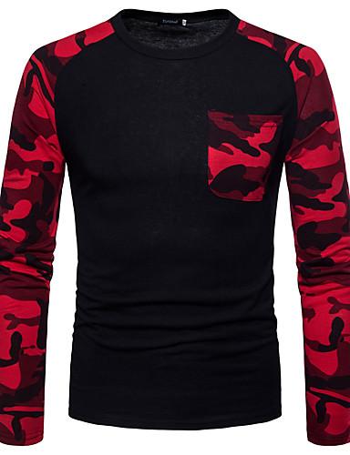 男性用 Tシャツ ベーシック ラウンドネック スリム カモフラージュ コットン グリーン L / 長袖