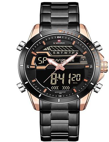 dec8e024081 NAVIFORCE Homens Relógio Esportivo Relógio Militar Relogio digital Japanês  Quartzo Japonês Aço Inoxidável Preta   Prata 30 m Impermeável Alarme  Calendário ...