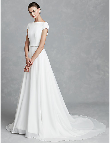 A-Line Bateau Neck Court Train Chiffon / Satin Made-To-Measure Wedding Dresses with Crystal Brooch by LAN TING BRIDE® / Beautiful Back